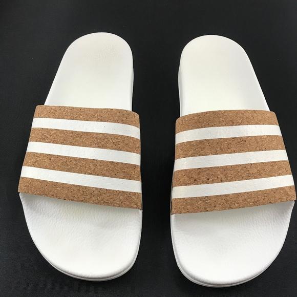 Adidas Adilette Tan White Cork Slides